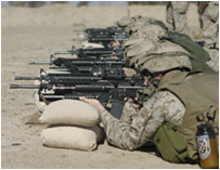Soldiers lying down and shooting up a firing range